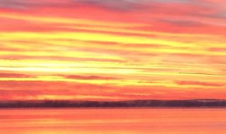 Sunset over Sebago lake